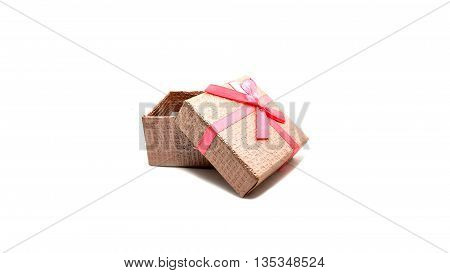 Little pink boxs gift on white background