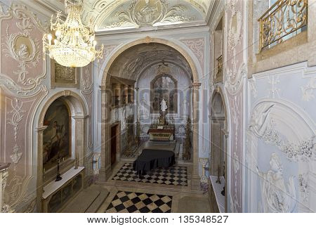 OEIRAS, PORTUGAL - November 4, 2015: View of the lavishly decorated Chapel of Our Lady of Mercy in the Palace of Oeiras, on November 4, 2015 in Oeiras, Portugal