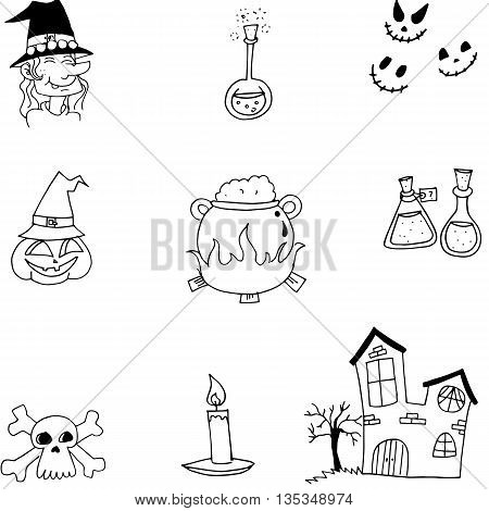 Halloween doodle element vector with hand draw