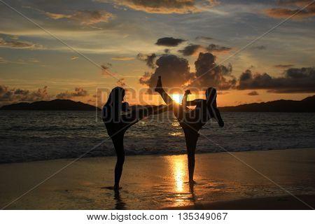 Latihan Karate in Nasi Island, Aceh Besar