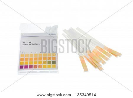 pH paper indicators and pH values test