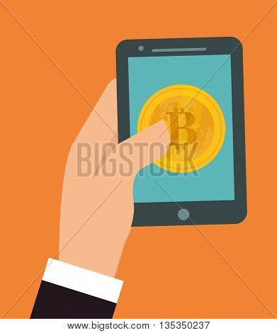 Bitcoin design over orange background, vector illustration.