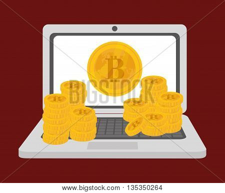 Bitcoin design over red background, vector illustration.