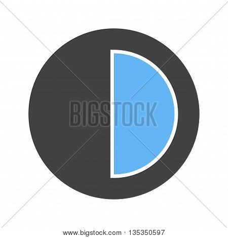 Half, chart, circle icon vector image. Can also be used for infographics. Suitable for use on web apps, mobile apps and print media.