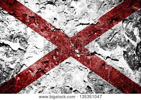 Alabama State Flag painted on grunge wall