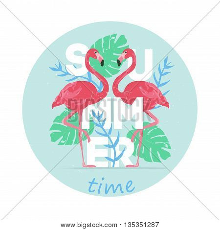 Vector illustration pink flamingo couple. Exotic bird. Summer postcard. Summer logo vector. Summer time. Cool flamingo decorative flat design element with tropical leaves