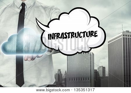 Infrastructure text on cloud computing theme with businessman on cityscape background