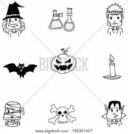 Halloween doodle vector art zombie pumpkins ghost