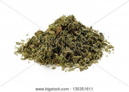 Heap of dried sage isolated on white background front view closeup.
