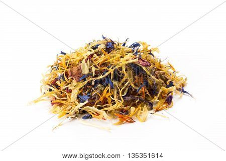 Heap of dried flower mix isolated on white background front view closeup.
