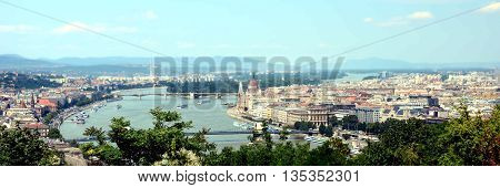 View of Danube river and city panorama of Budapest from Citadella park, Hungary