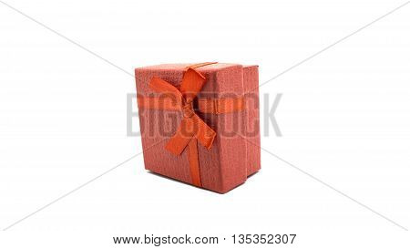 Little red gift boxs on white background