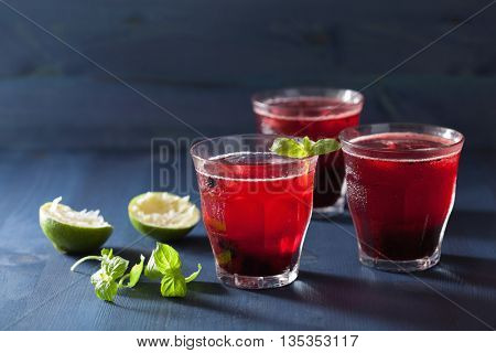 refreshing blueberry drink with lime and mint