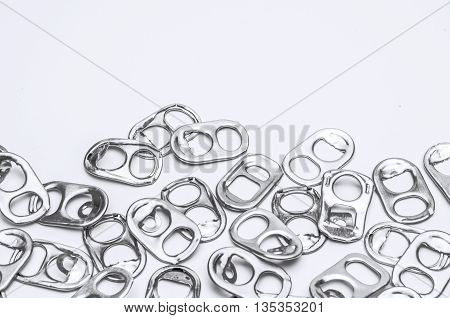 Ring Pull Aluminum of Cans White Background