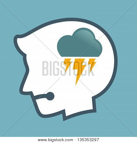 Vector stock of human head silhouette with thunder cloud symbol inside