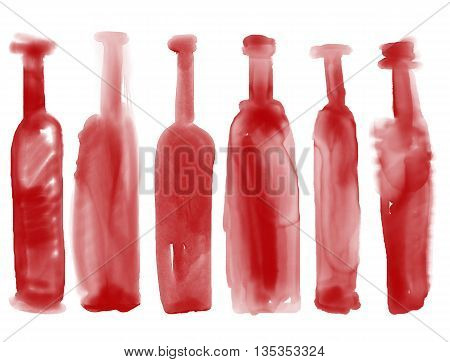 Set of bottle wine - watercolor bottles hand drawn art style