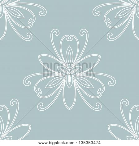 Floral vector ornament. Seamless abstract classic pattern with flowers. Light blue and white pattern