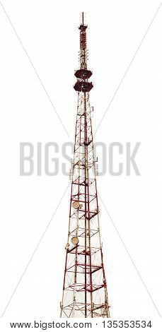 Television and radio broadcasting station isolated on white background