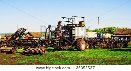 Sowing machine with seeding and plowing tools for planting season