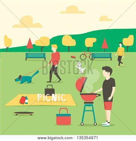 Picnic. Man preparing meat. Summer party in park. Vector illustration