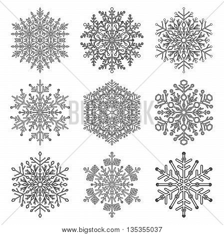 Set of vector snowflakes. Fine winter ornament. Snowflake collection. Black and white colors