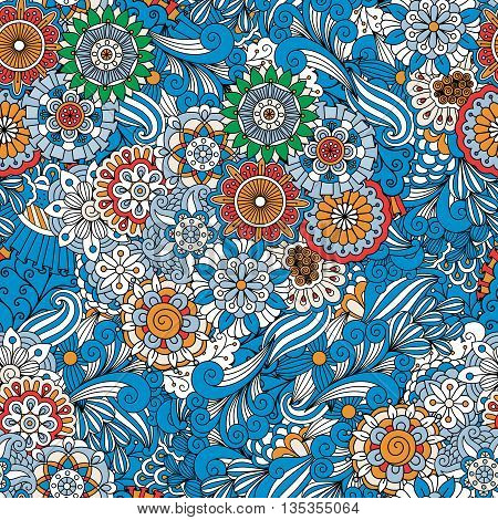 Blue full frame floral seamless background with other geometric elements and intricate designs