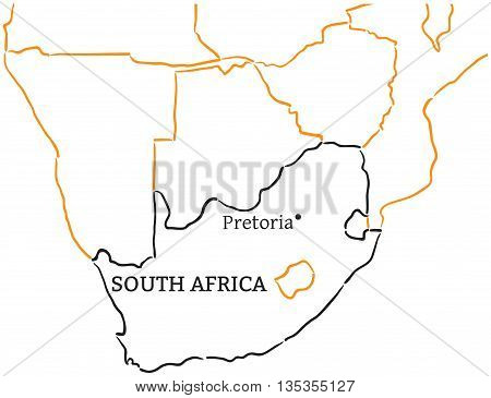 South Africa country with its capital Pretoria in Africa hand-drawn sketch map isolated on white