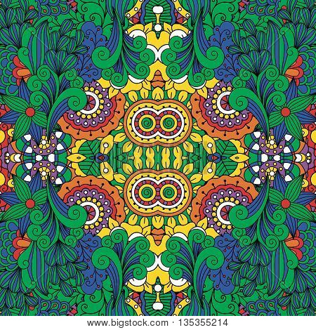 Lovely full frame floral design background with yellow sunflower middle and green with red leaf like border