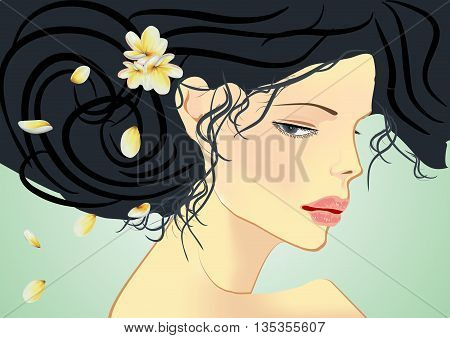 composition with a woman and flowers in her hair