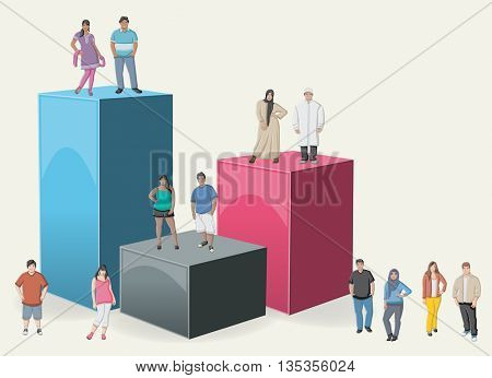 3d design of a text box frame background with cartoon fat teenagers. Asian, muslin and black people.