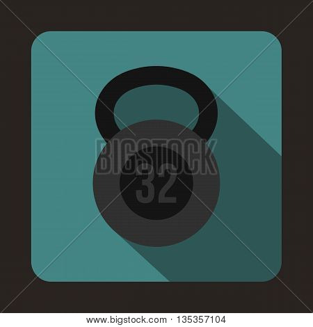 Kettlebell 32 kg icon in flat style on a blue background