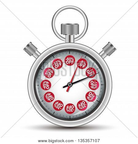 Time sale concept stopwatch on white background