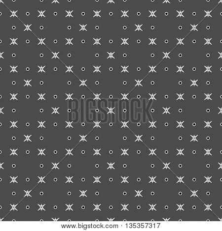 Star and polka dot geometric seamless pattern. Fashion graphic background design. Modern stylish abstract texture. Monochrome template for prints textiles wrapping website etc. VECTOR ilustration