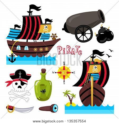 Cartoon pirate ship with sails. Pirate skull with bones in pirate hat. Pirate ship sideways. Bottle of rum, saber and spyglass. Elements for birthday or pirate party. Cute pirate isolated object set. Pirate cartoon concept and pirate cute symbols.