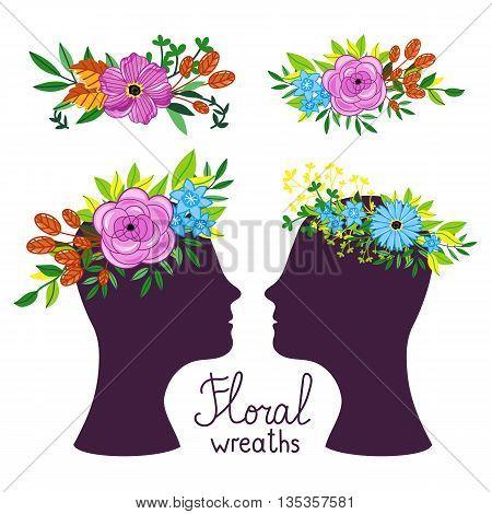 Floral wreath on the heads. Flower diadem. Vecor illustration.