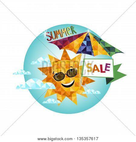 Summer sale banner vector illustration, seasonal special offer label.