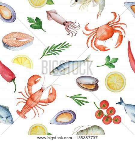 Watercolor seamless pattern with seafood, herbs, spices, vegetables and citrus. Painted illustration on a white background. Texture for a healthy diet.