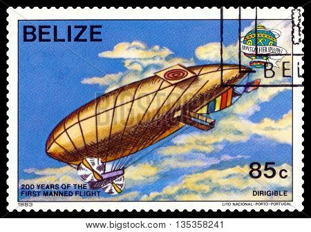 STAVROPOL RUSSIA - JUNE 20 2016: a stamp printed in Belize shows an Dirigible 200 years of manned flight cirka 1983