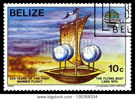 STAVROPOL RUSSIA - JUNE 20 2016: a stamp printed in Belize shows an Flying Boat Lana 1670 200 years of manned flight cirka 1983