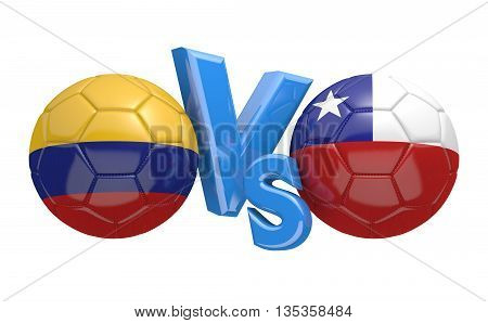 Football competition between national teams Colombia vs Chile, 3D rendering