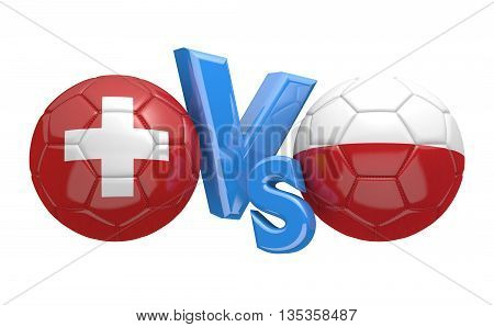 Football competition between national teams Switzerland vs Poland, 3D rendering