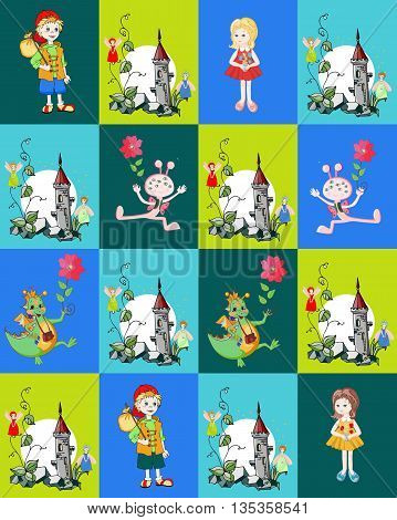 Childish seamless patchwork pattern with boy, girl, dragon, fantasy tower with fairies and creature. Cute vector illustration of quilt.