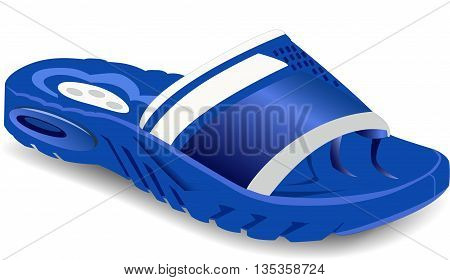 vector one of blue summer flip flops on a white background