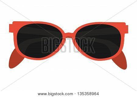orange frame sunglasses vector illustration flat style design