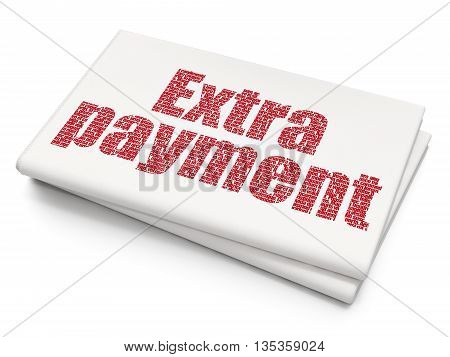 Money concept: Pixelated red text Extra Payment on Blank Newspaper background, 3D rendering