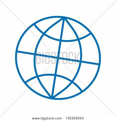Sign globe. Image of earth. Blue icon isolated on white background. Color environment symbol. Logo for geography. Light flat silhouette. Mark of sphere. Stock vector illustration