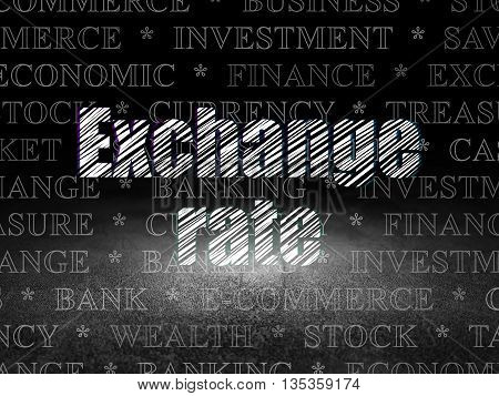 Money concept: Glowing text Exchange Rate in grunge dark room with Dirty Floor, black background with  Tag Cloud