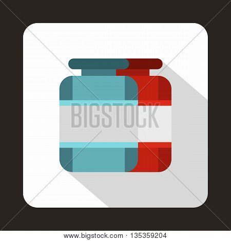 Nutritional supplement for athletes icon in flat style on a white background