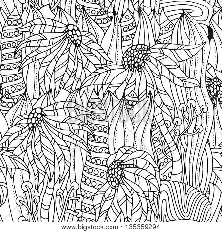 Seamless Pattern for coloring book. Ethnic floral retro doodle vector tribal zentangle design elements. Black and white background.