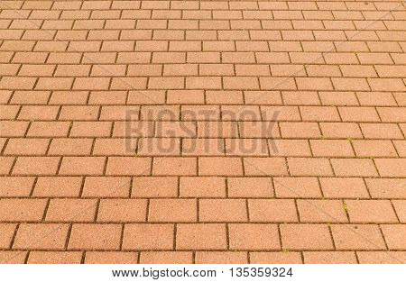 Red brick paving stones on a sidewalk.